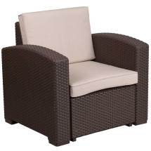 Faux Rattan Patio Chair - Chocolate Brown In Outdoor Chairs
