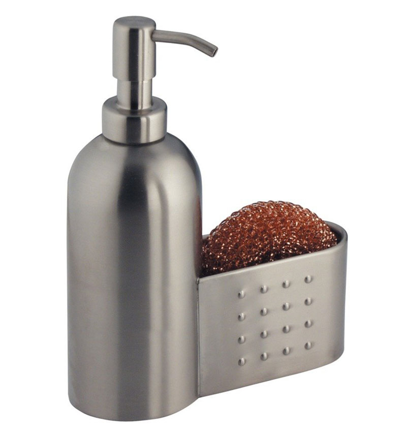 kitchen soap caddy furniture storage stainless pump with sponge holder in dispensers