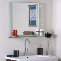 Frameless Contemporary Bathroom Mirror with Shelf in ...