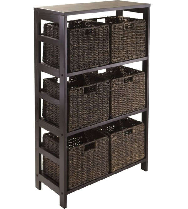Granville Storage Shelf With 6 Foldable Baskets Winsome In Shelves