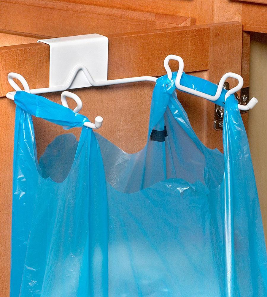 Grocery Bag Holder  Over the Cabinet Door in Plastic Bag