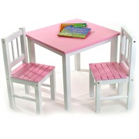 Childrens Wooden Table and Chairs - Pink in Kids Furniture
