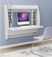 Wall Mounted Desk with Storage - White in Desks and Hutches
