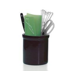 Kitchen Tool Crock Chandelier Lowes Large Ceramic Utensil Holder - Black In ...