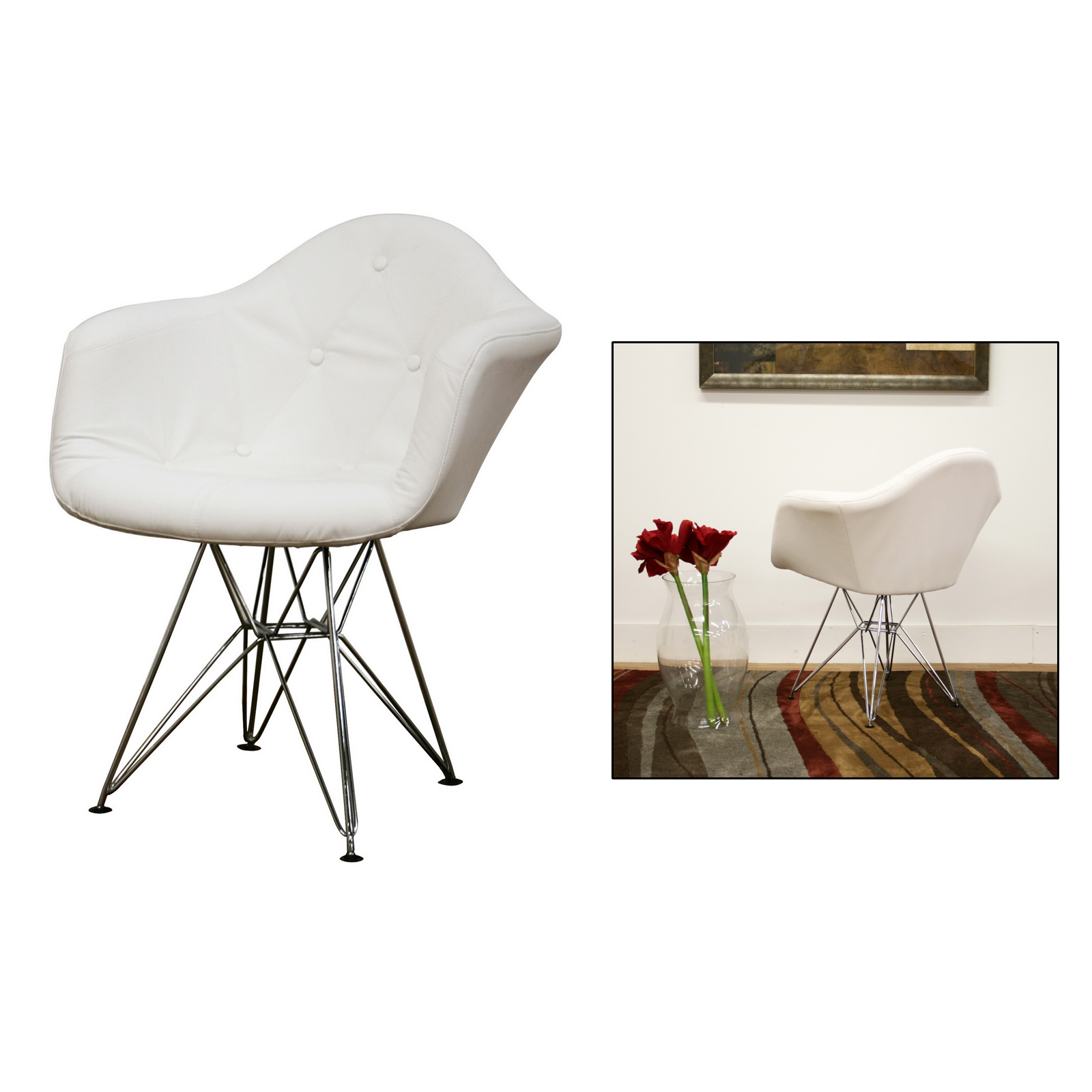 white faux leather chair nilkamal design and price lia tufted with eiffel base by