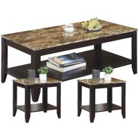 Marble-Look Top Table Set in Coffee Tables