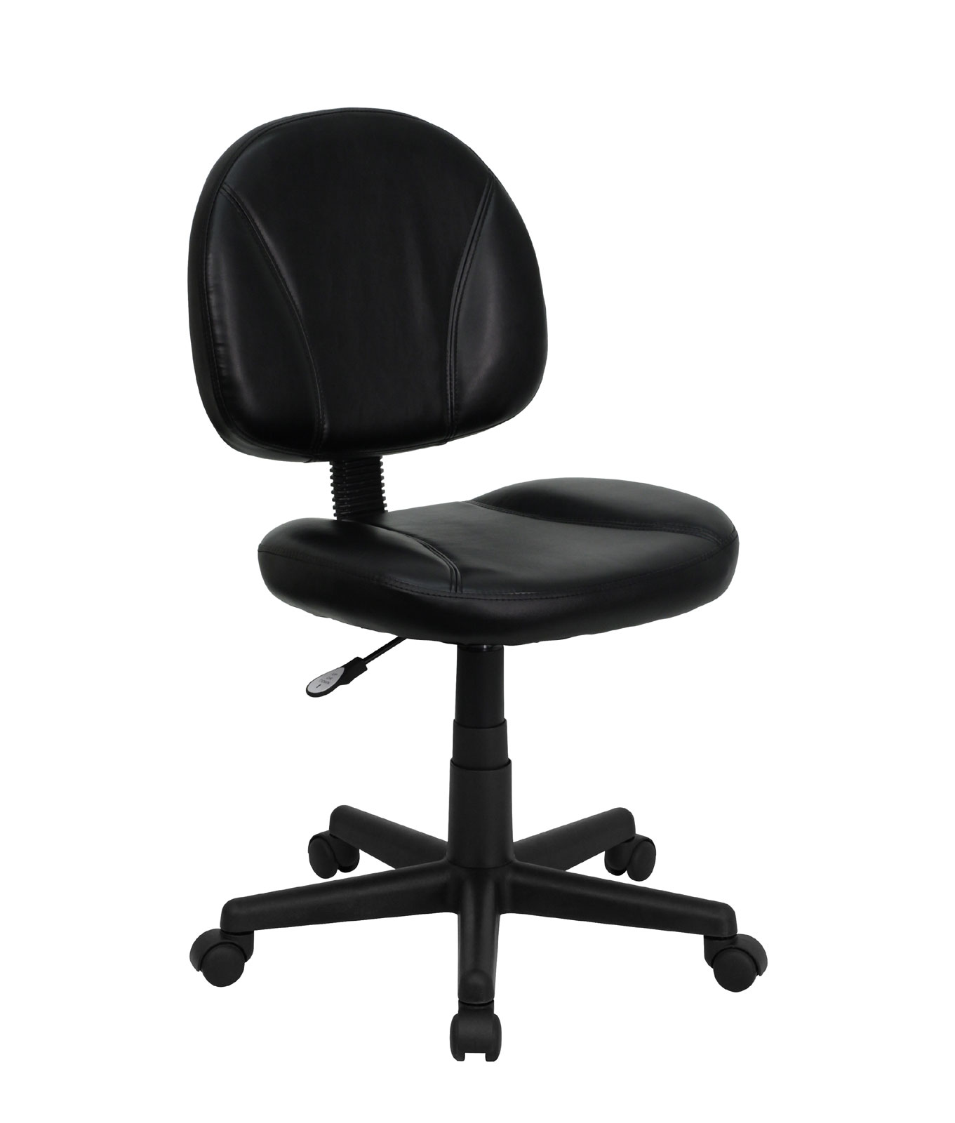 black bonded leather chair mesh office mid back ergonomic task by
