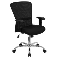 Black Mesh Office Chair Adjustable Armrest Mid Back Contemporary Computer By Flash