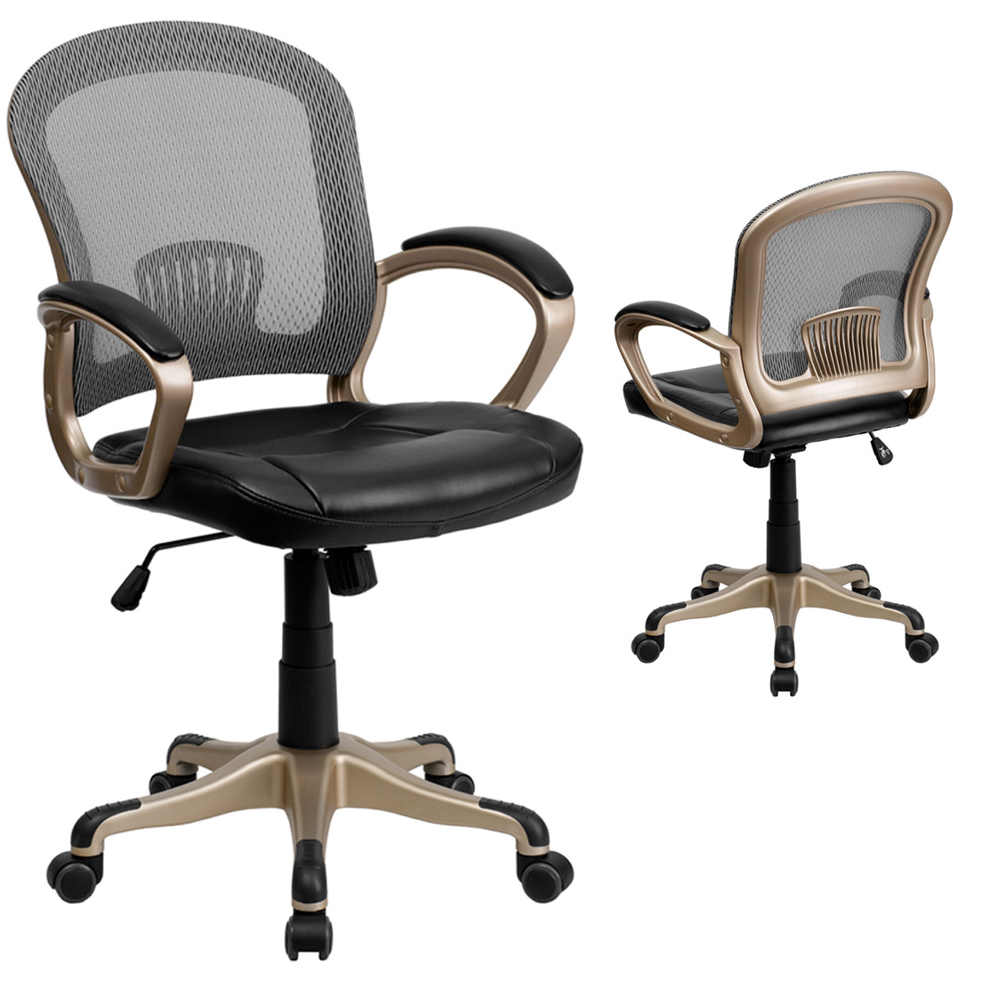 MidBack Mesh Office Chair with Black Leather Seat by