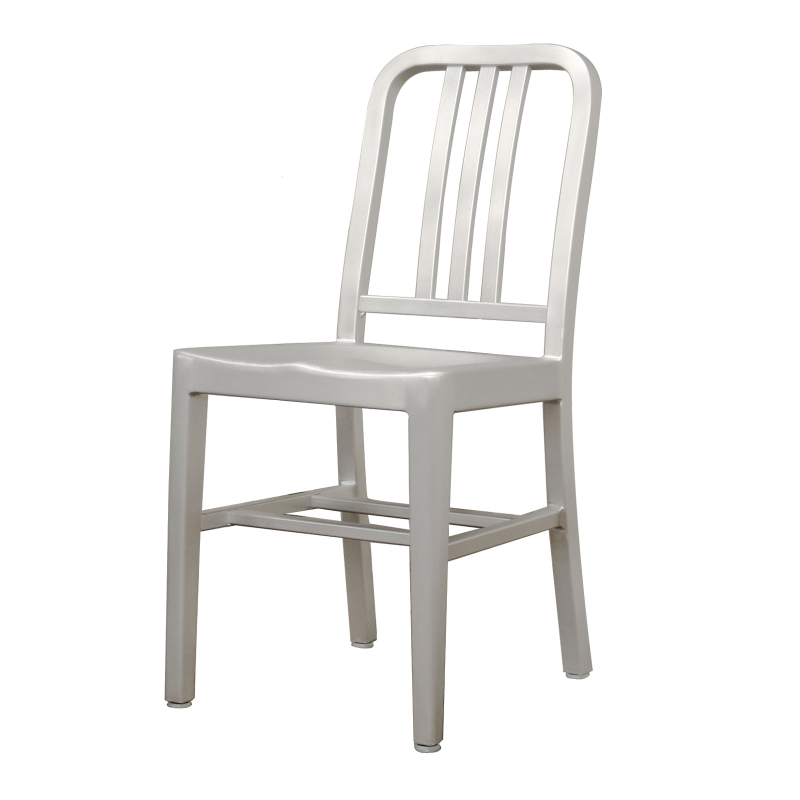 Modern Cafe Chair in Brushed Aluminum  Set of 2  by