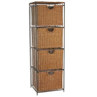 Four-Drawer Rolling Wicker File Tower in File Cabinets