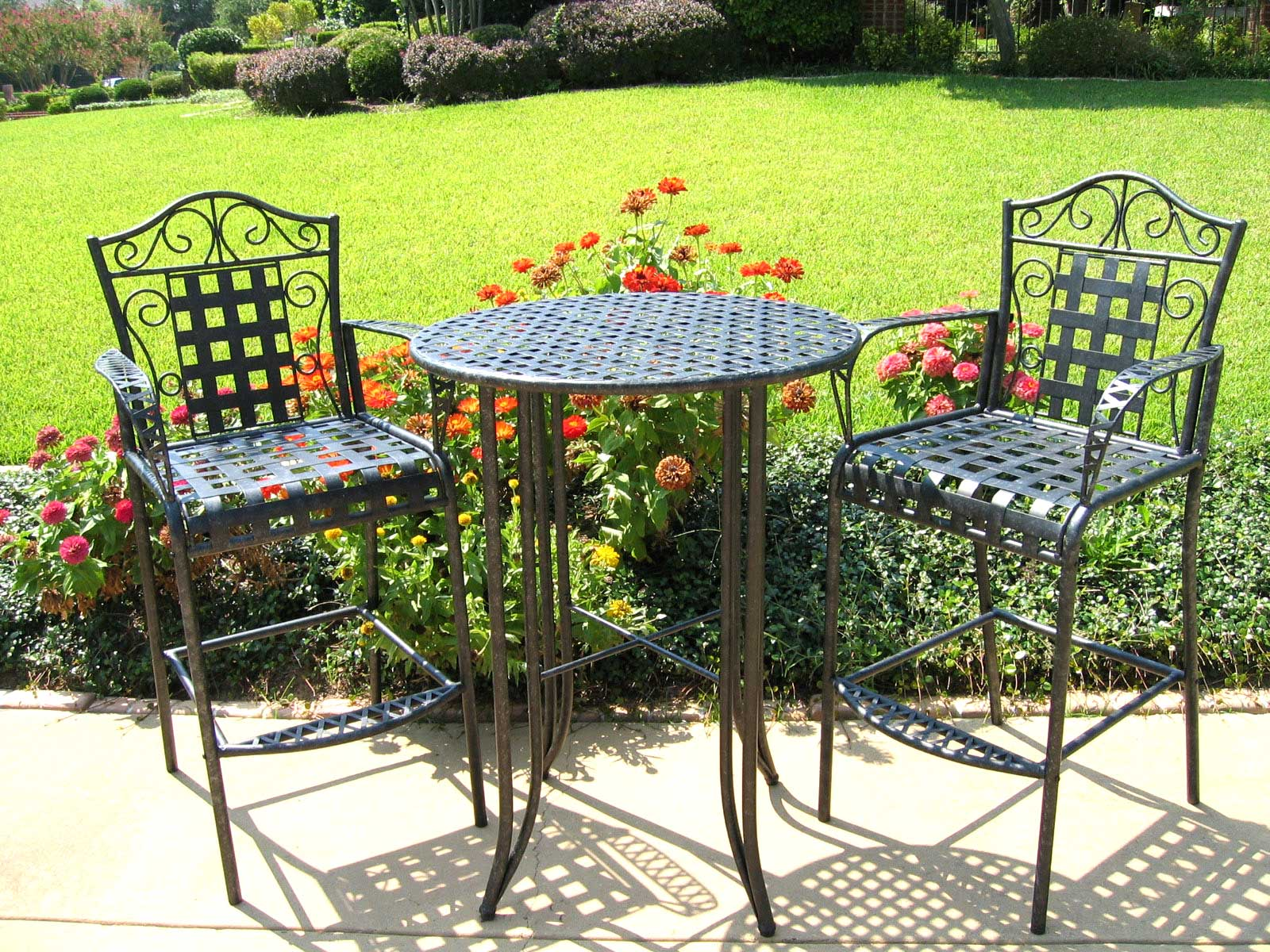 3 piece outdoor table and chairs black metal folding bistro set patio furniture in