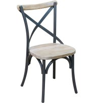 Reclaimed Wood and Metal Dining Chairs (Set of 2) in ...