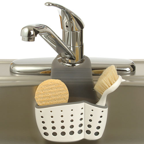 Adjustable Dish Brush and Sponge Holder in Sink Organizers