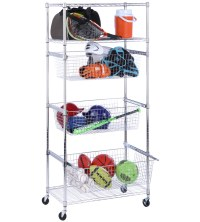 Storage Rack with Baskets in Shelves with Baskets