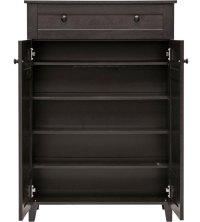 Tall Wood Shoe Cabinet in Shoe Cubbies