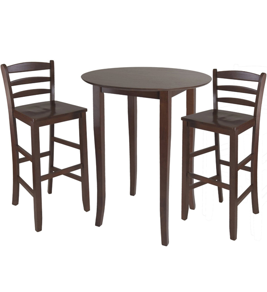 kitchen table stools cabinet organization three piece high top dining and chairs in bar sets image