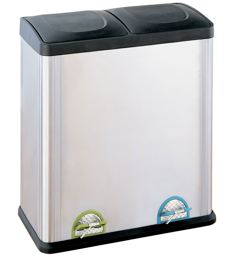 13 gallon kitchen trash can remodel cost square in cans two compartment stainless steel recycle bin