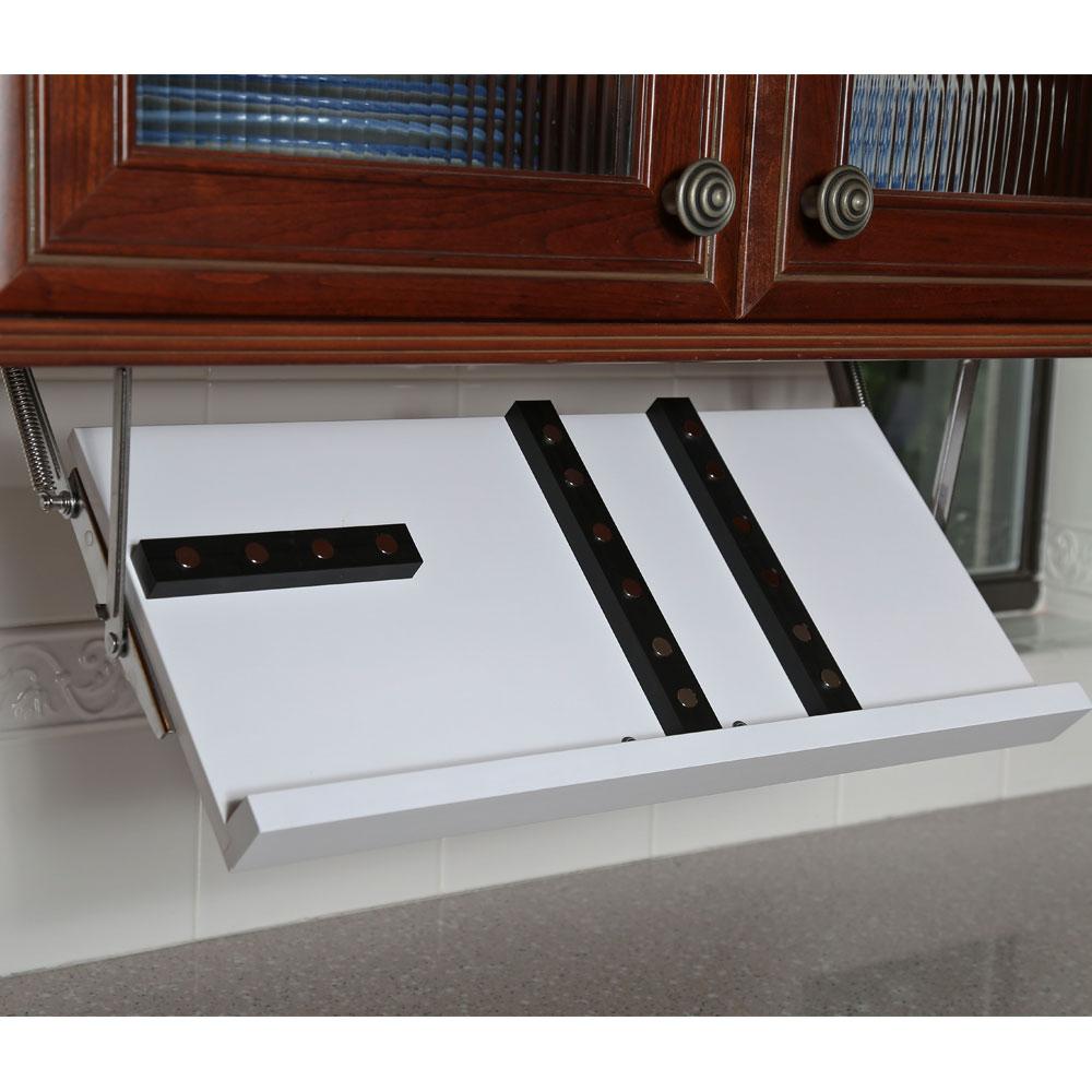 in stock kitchen cabinets reviews bronze pendant lighting under cabinet knife block - white storage