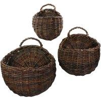 Wall Mounted Storage Baskets (Set of 3) in Wicker Baskets