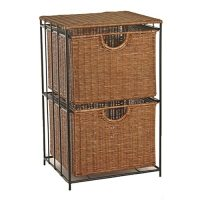 Two-Drawer Rolling Wicker File Tower in File Cabinets