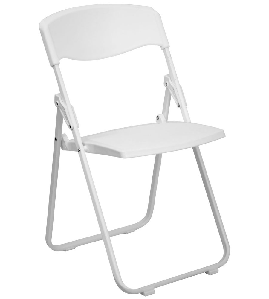 White Plastic Folding Chair in Folding Chairs