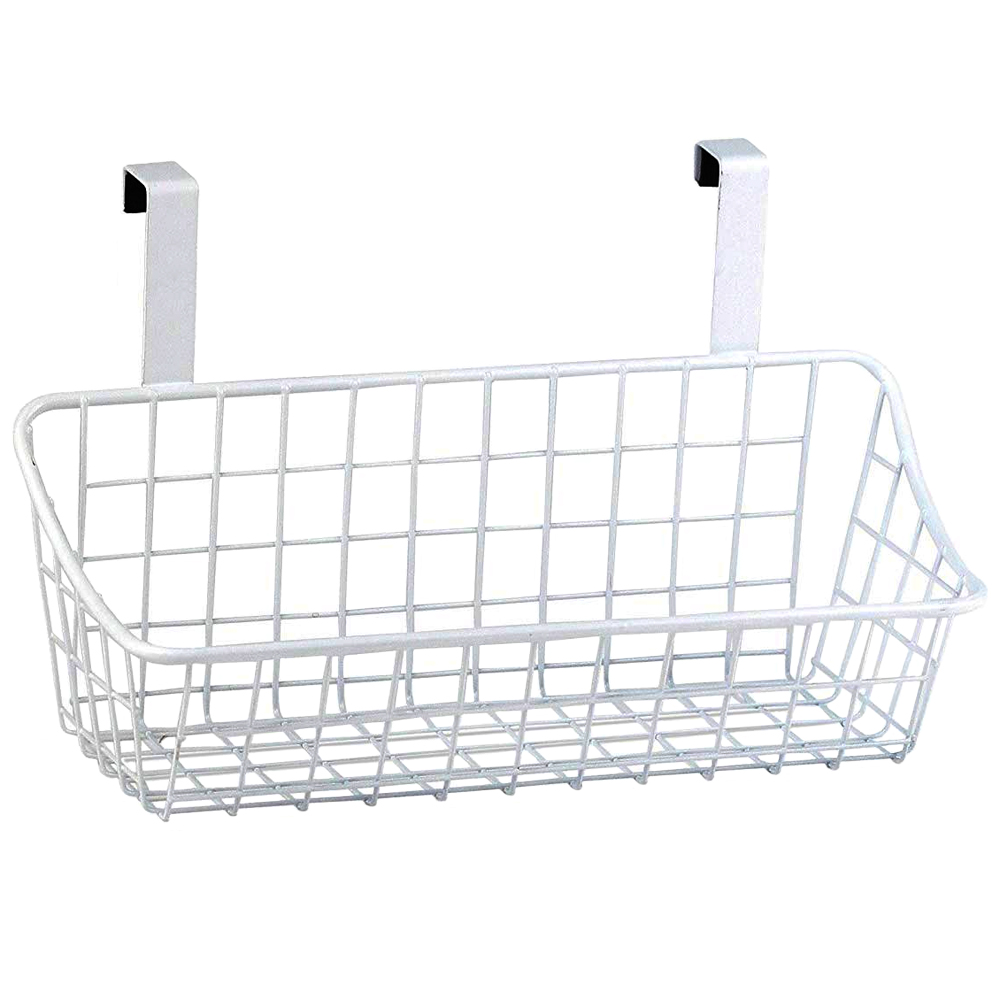 White Over The Cabinet Wire Basket in Cabinet Door Organizers