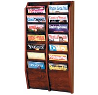 Wall Magazine Rack - Oak 14 Pocket in Wall Magazine Racks