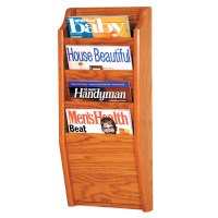 Wooden Magazine Rack - 4 Pocket in Wall Magazine Racks