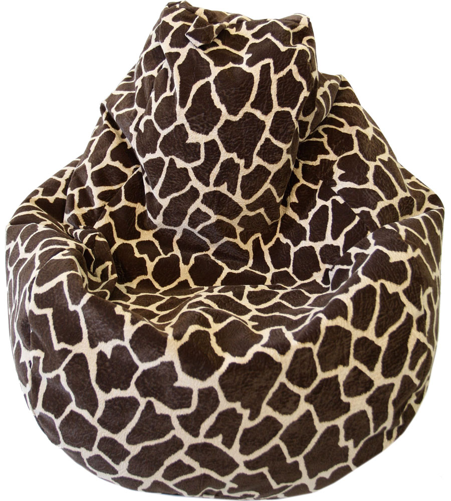 leopard print living room grey tile floor bean bag chair lounger - animal prints in chairs