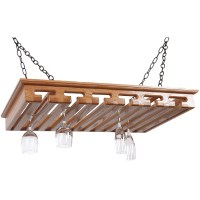 Hanging Wood Stemware Rack in Wine Glass Racks