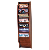 Wooden Magazine Rack - 7 Pocket in Wall Magazine Racks