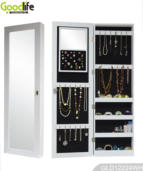 Over the door and wall mounted wooden jewelry cabinet
