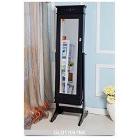 Antique standing mirror with jewelry storage cabinet