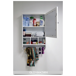 Wall mounted wooden mirror storage cabinet for makeup