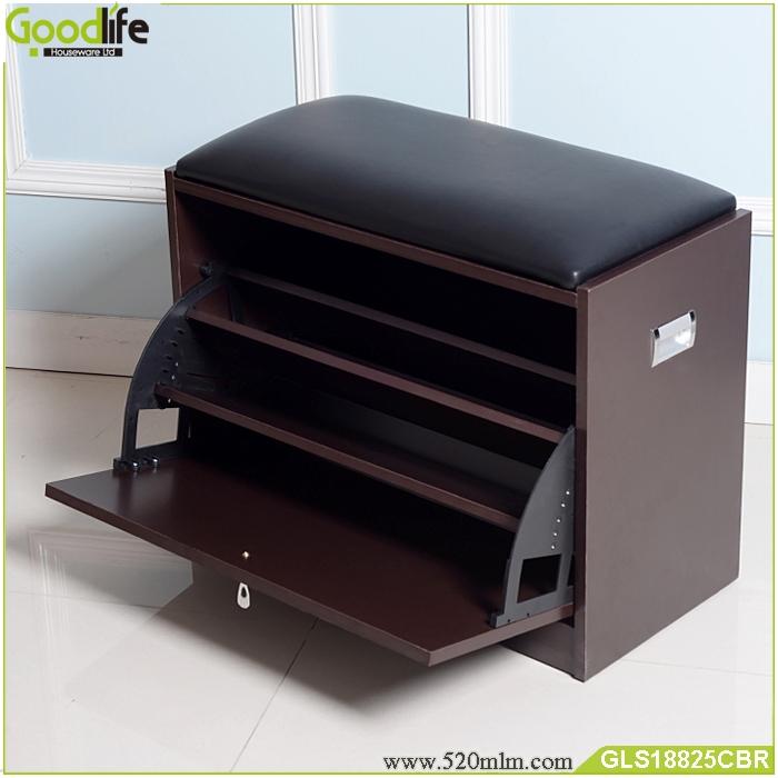 Brown shoe cabinet shoe rack cabinet shoes storage ottoman