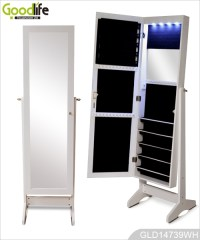 Full length dressing mirror with storage cabinet for ...