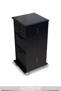 Wheeled foldable wooden storage cabinet with mirror