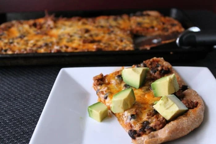 Leftover Taco Pizza by Skinny Mom's Kitchen
