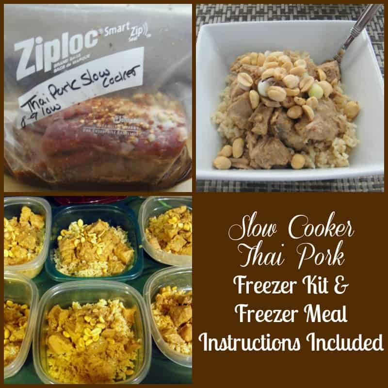 Slow Cooker Thai Pork. Freezer recipe with slow cooker and freezer meal instructions