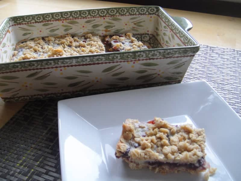 Cooking Light Recipe Cranberry Lemon Oat Bars. Freezer friendly snack