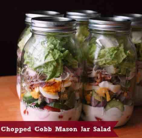Chopped Cobb Mason Jar Salad #organizeyourselfskinny