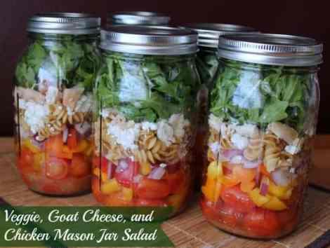 Veggie, Goat Cheese, and Chicken Mason Jar Salad