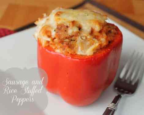 Healthy Sausage and Rice Stuffed Peppers Freezer Meal Freezer Recipe
