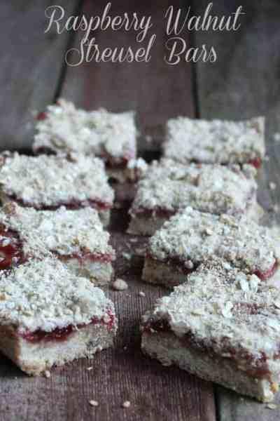 Raspberry Walnut Streusel Bars