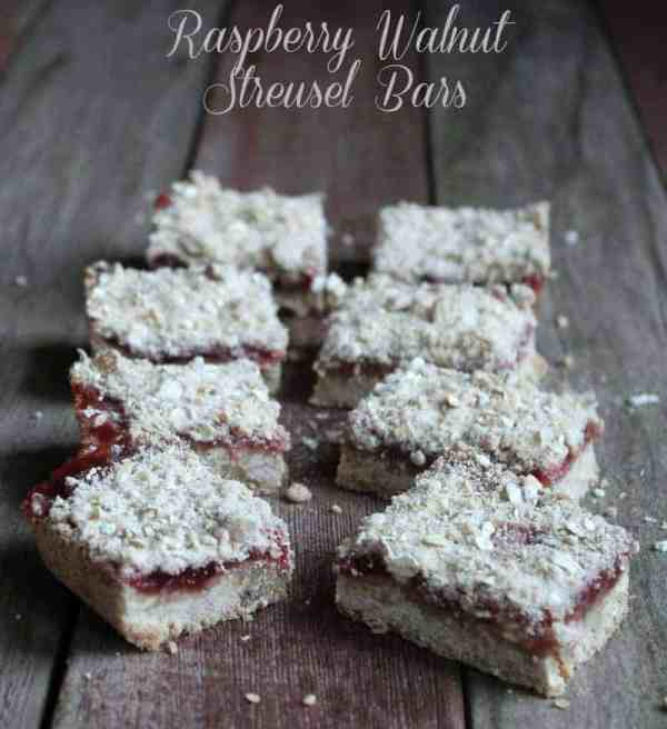 Raspberry Walnut Streusel Bars 167 and 4 weight watchers points plus