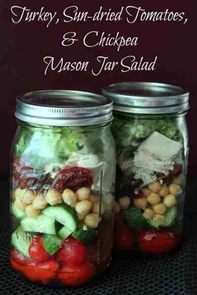 Turkey, Sun-dried Tomatoes, & Chickpea Mason Jar Salad