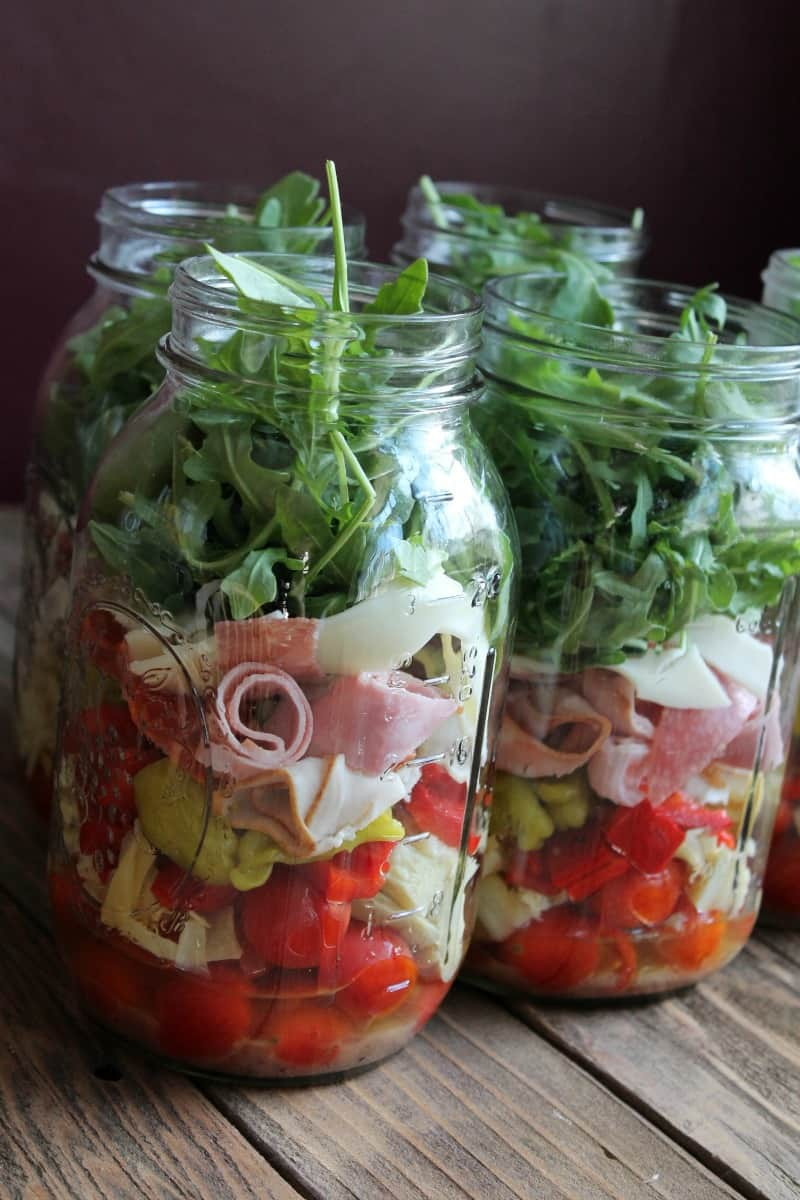 Antipasto Mason Jar Salad 347 Calories and 9 Weight Watchers Points Plus