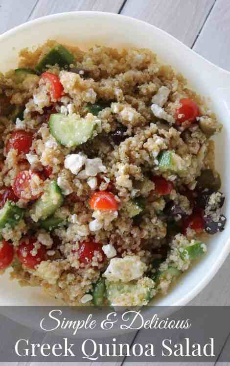 Greek Quinoa Salad Simple and Delicious 288 calories and 8 weight watchers points plus