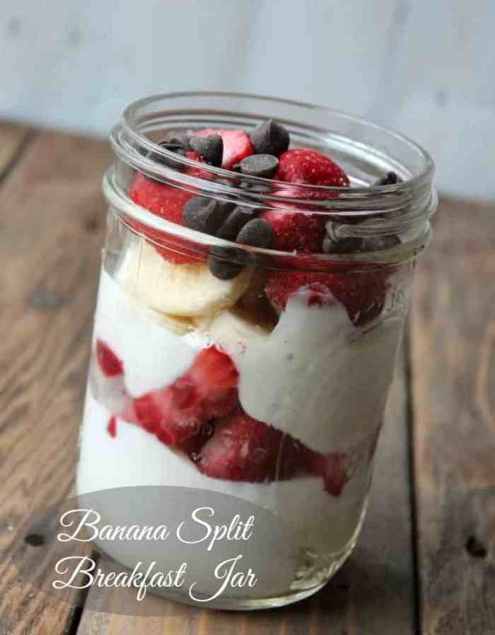 Banana Split Breakfast Jar Healthy Make-ahead Breakfast Recipe